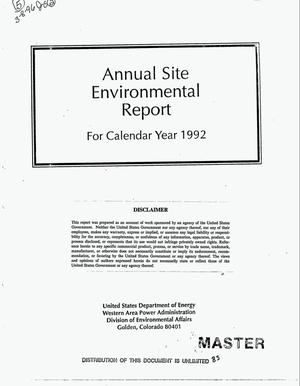 Primary view of object titled 'Annual site environmental report for calendar year 1992'.
