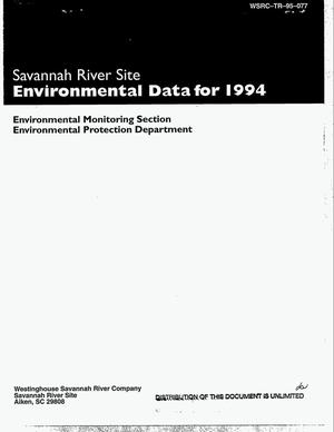 Primary view of object titled 'Savannah River Site Environmental Data for 1994'.