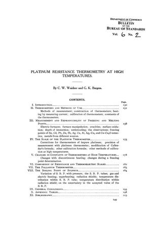 Primary view of object titled 'Platinum Resistance Thermometry at High Temperatures'.