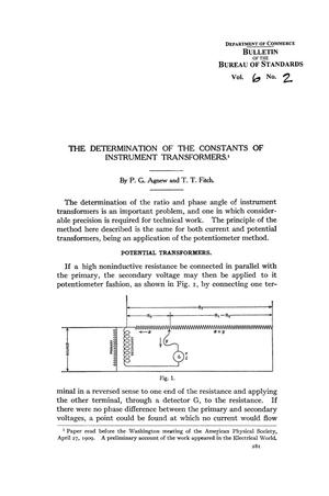 Primary view of object titled 'The Determination of the Constants of Instrument Transformers'.