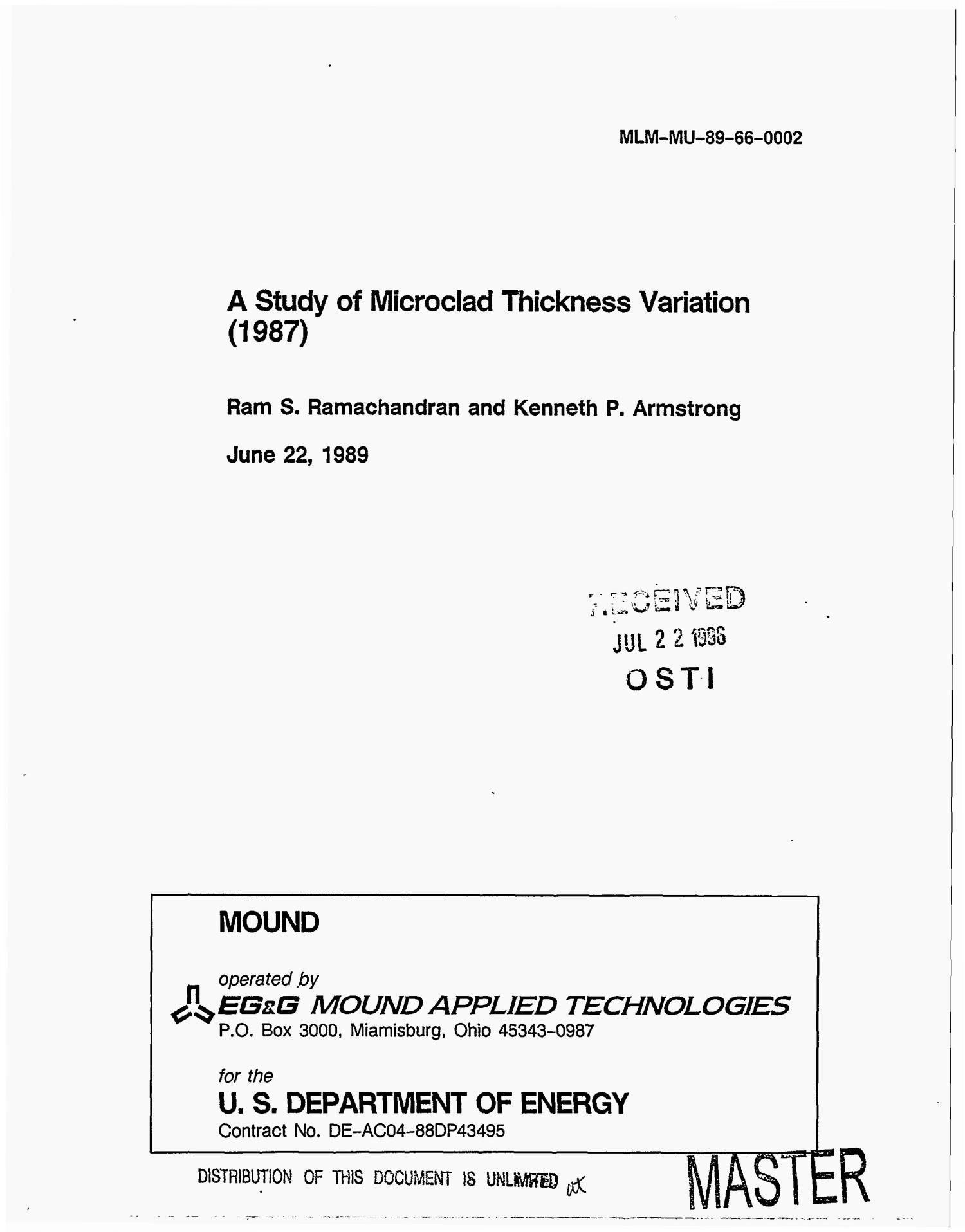 A study of microclad thickness variation (1987)                                                                                                      [Sequence #]: 1 of 36