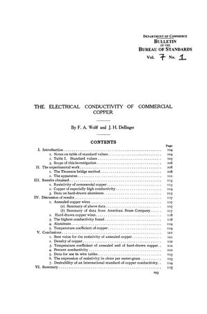 Primary view of object titled 'The Electrical Conductivity of Commercial Copper'.