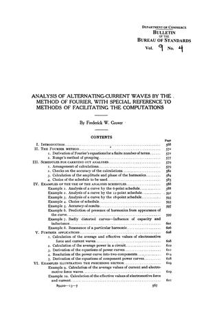 Analysis of Alternating-Current Waves by the Method of Fourier, with Special Reference to Methods of Facilitating the Computations