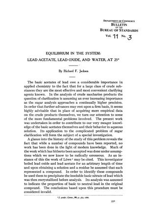 Primary view of Equilibrium in the System: Lead Acetate, Lead Oxide, and Water, at 25⁰
