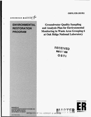 Primary view of object titled 'Groundwater Quality Sampling and Analysis Plan for Environmental Monitoring Waste Area Grouping 6 at Oak Ridge National Laboratory. Environmental Restoration Program'.