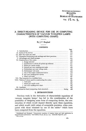 Primary view of object titled 'A Direct-Reading Device for Use in Computing Characteristics of Vacuum Tungsten Lamps (with Computing Chart)'.