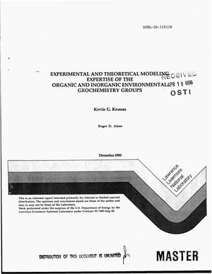 Primary view of object titled 'Experimental and theoretical modeling expertise of the Organic and Inorganic Environmental Geochemistry Groups'.
