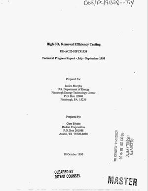Primary view of object titled 'High SO{sub 2} removal efficiency testing. Technical progress report, July--September 1995'.