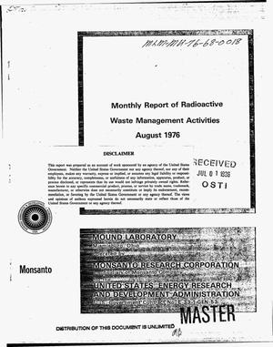 Primary view of object titled 'Monthly report of radioactive waste management activities: August 1976'.