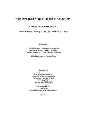 Primary view of object titled 'Kootenai River White Sturgeon Investigation, 1994 Annual Report.'.