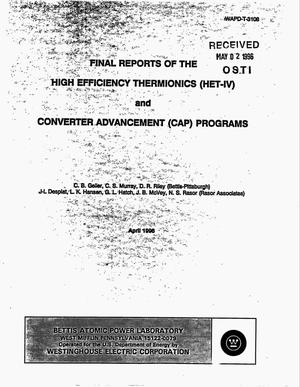 Primary view of object titled 'High Efficiency Thermionics (HET-IV) and Converter Advancement (CAP) programs. Final reports'.