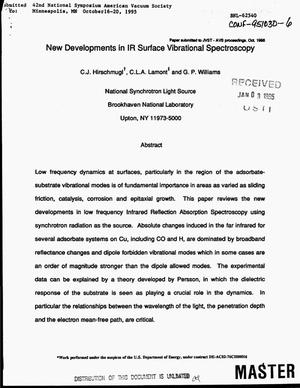 Primary view of object titled 'New developments in IR surface vibrational spectroscopy'.