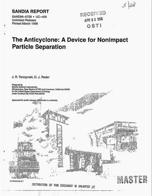 Primary view of object titled 'The anticyclone: A device for nonimpact particle separation'.