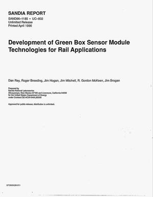 Primary view of object titled 'Development of Green Box sensor module technologies for rail applications'.