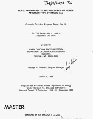 Primary view of object titled 'Novel approaches to the production of higher alcohols from synthesis gas. Quarterly technical progress report No. 16, July 1, 1994-- September 30, 1994'.