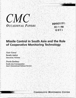 Primary view of object titled 'Cooperative Monitoring Center Occasional Paper/4: Missile Control in South Asia and the Role of Cooperative Monitoring Technology'.