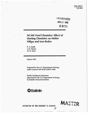 Primary view of object titled 'NCAW feed chemistry: Effect of starting chemistry on melter offgas and iron redox'.