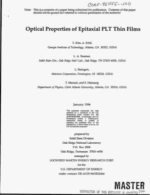 Primary view of object titled 'Optical properties of epitaxial PLT thin films'.