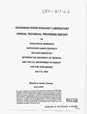 Primary view of object titled 'Savannah River Ecology Laboratory annual technical progress report of ecological research for the year ending July 31, 1995'.