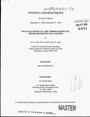 Primary view of object titled 'POC-scale testing of a dry triboelectrostatic separator for fine coal cleaning. First quarterly technical progress report, September 27, 1995--December 31, 1995'.