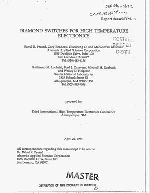 Primary view of object titled 'Diamond switches for high temperature electronics'.
