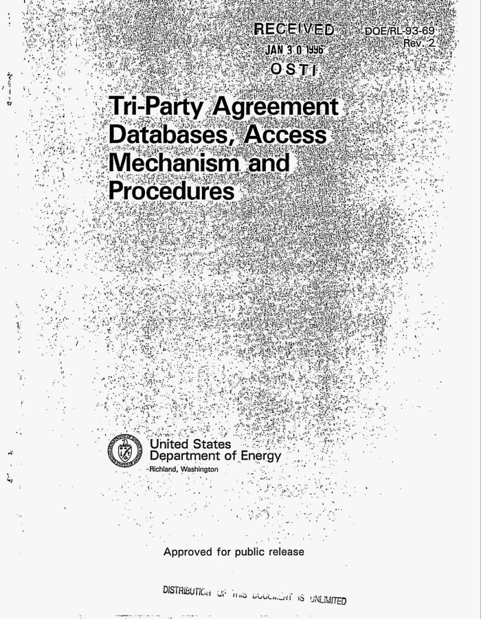 Tri Party Agreement Databases Access Mechanism And Procedures