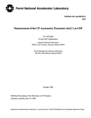 Primary view of object titled 'Measurement of the cp asymmetry Parameter sin(2{beta}) at CDF'.