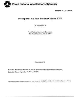 Primary view of object titled 'Development of a pixel readout chip for BTeV'.