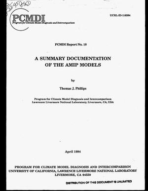 Primary view of object titled 'A summary documentation of the AMIP models'.