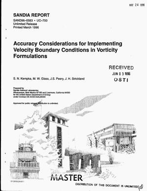 Primary view of object titled 'Accuracy considerations for implementing velocity boundary condiditons in vorticity formulations'.