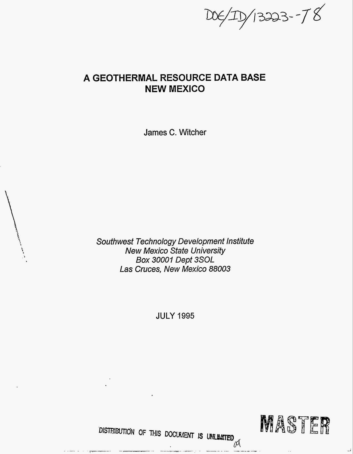 A geothermal resource data base: New Mexico                                                                                                      [Sequence #]: 1 of 94