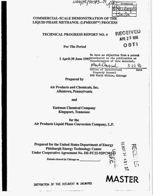 Primary view of object titled 'Commercial-scale demonstration of the liquid phase methanol (LPMEOH{trademark}) process. Technical progress report No. 4, 1 April--30 June 1995'.