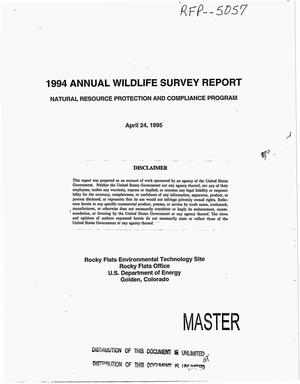 Primary view of object titled '1994 Annual wildlife survey report. Natural Resource Protection and Compliance Program'.
