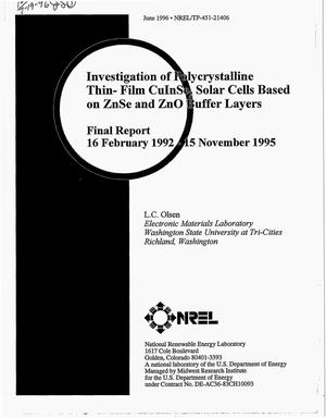 Primary view of object titled 'Investigation of polycrystalline thin-film CuInSe{sub 2} solar cells based on ZnSe and ZnO buffer layers. Final report, February 16, 1992--November 15, 1995'.