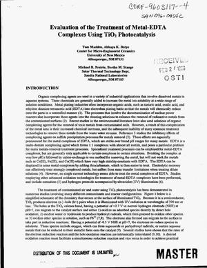 Primary view of object titled 'Evaluation of the tratment of metal-EDTA complexes using Ti0{sub 2} photocatalysis'.