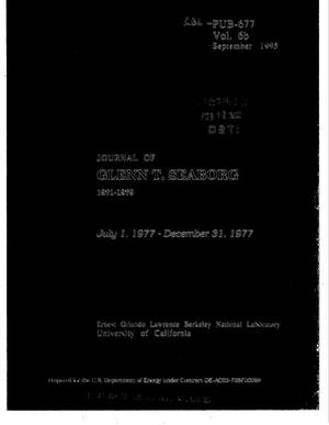 Primary view of object titled 'Journal of Glenn T. Seaborg, July 1, 1977--December 31, 1977. Volume 6b'.