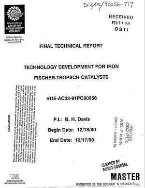 Primary view of object titled 'Technology development for iron Fischer-Tropsch catalysts. Final technical report, December 18, 1990--December 17, 1993'.