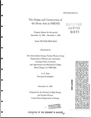 Primary view of object titled 'The design and construction of the muon arm in PHENIX. Progress report, December 15, 1994--December 1, 1995'.