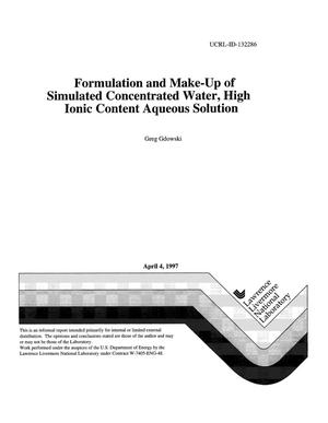 Primary view of object titled 'Formulation and make-up of simulated concentrated water, high ionic content aqueous solution'.