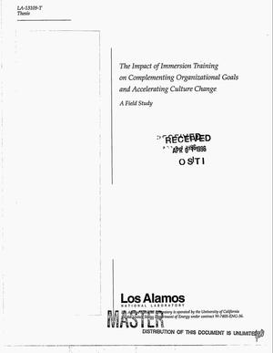 Primary view of object titled 'The impact of immersion training on complementing organizational goals and accelerating culture change - a field study'.