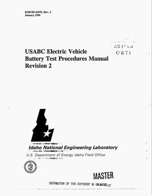 Primary view of object titled 'USABC electric vehicle Battery Test Procedures Manual. Revision 2'.