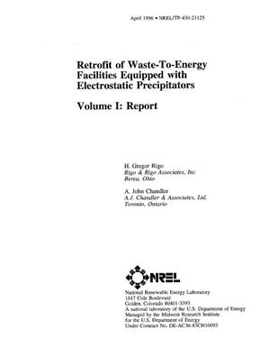 Primary view of object titled 'Retrofit of waste-to-energy facilities equipped with electrostatic precipitators. Volume I: Report'.