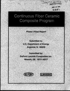 Primary view of object titled 'Du Pont Lanxide composites DMO CFCC program. Phase I final report'.