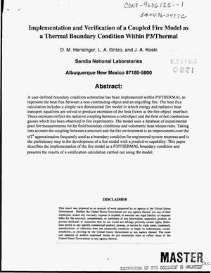 Primary view of object titled 'Implementation and verification of a coupled fire model as a thermal boundary condition within P3/THERMAL'.