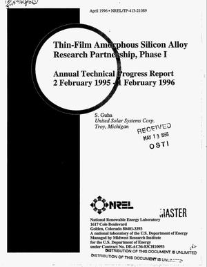 Primary view of object titled 'Thin-film amorphous silicon alloy research partnership, Phase I. Annual technical progress report, February 2, 1995--February 1, 1996'.