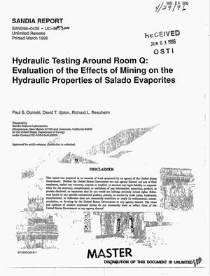 Primary view of object titled 'Hydraulic testing around Room Q: Evaluation of the effects of mining on the hydraulic properties of Salado Evaporites'.