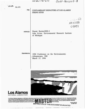 Primary view of object titled 'Contaminant signature at Los Alamos firing sites'.