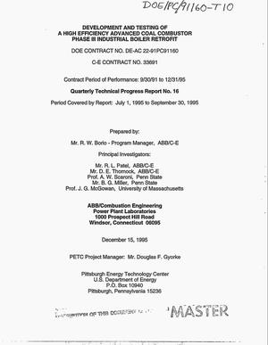 Primary view of object titled 'Development and testing of a high efficiency advanced coal combustor Phase III industrial boiler retrofit. Quarterly technical progress report, July 1, 1995--September 30, 1995 No. 16'.