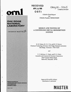 Primary view of object titled 'Design and testing of a continuous metal biosorption system. Final report, March 10, 1994--June 9, 1995'.
