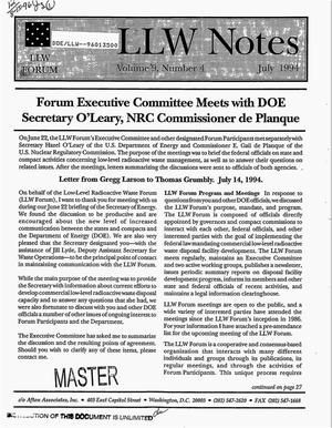 Primary view of object titled 'Low-Level Waste Forum notes and summary reports for 1994. Volume 9, Number 4, July 1994'.